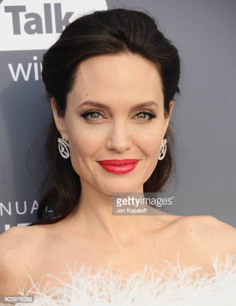 Actordirector Angelina Jolie attends The 23rd Annual Critics' Choice Awards at Barker Hangar on January 11 2018 in Santa Monica California