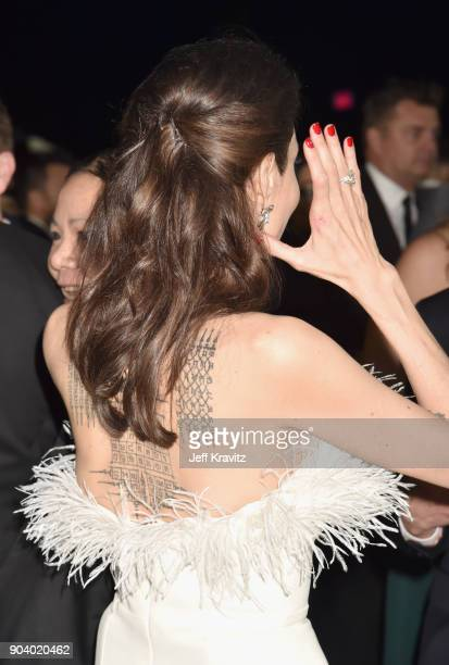 Actor/director Angelina Jolie attends The 23rd Annual Critics' Choice Awards at Barker Hangar on January 11 2018 in Santa Monica California