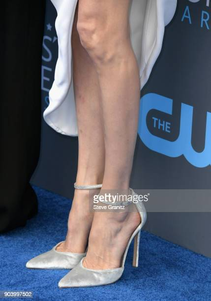Actor/director Angelina Jolie fashion detail attends The 23rd Annual Critics' Choice Awards at Barker Hangar on January 11 2018 in Santa Monica...