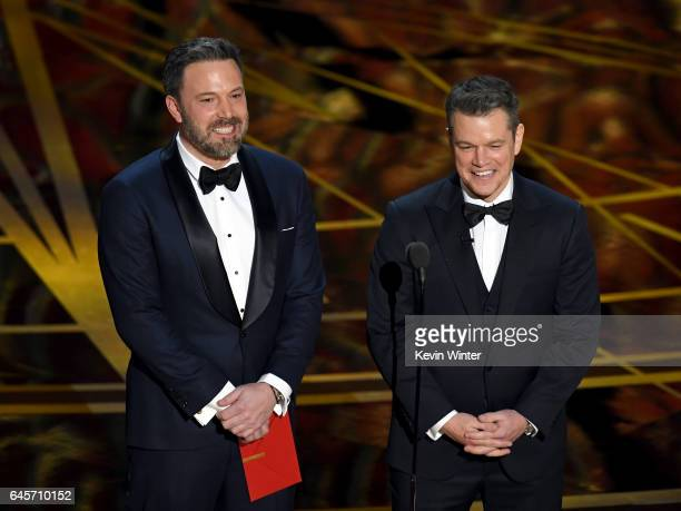 Actor/director Ben Affleck and actor/producer Matt Damon speak onstage during the 89th Annual Academy Awards at Hollywood Highland Center on February...