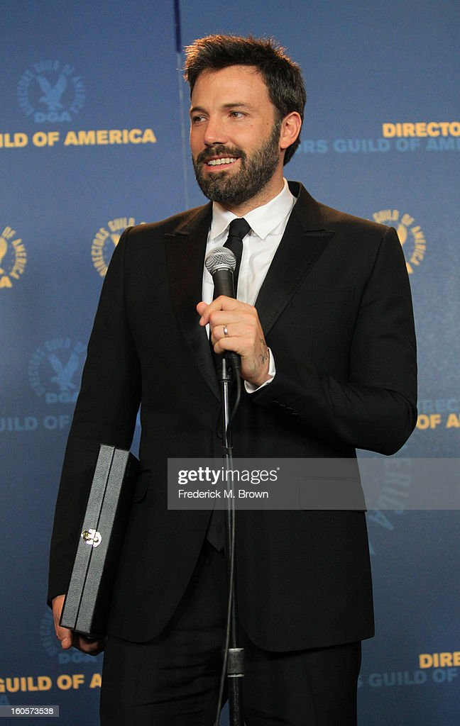 "Actor/director Ben Affleck, winner of the Outstanding Directorial Achievement in Feature Film for 2012 award for ""Argo,"" poses in the press room during the 65th Annual Directors Guild Of America Awards at Ray Dolby Ballroom at Hollywood & Highland on February 2, 2013 in Los Angeles, California."