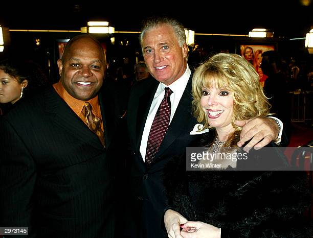 "Actor/director Charles S. Dutton , actor Joe Cortese and Jackie Kallen, on whos life the story is based, pose at the premiere of ""Against the Ropes""..."