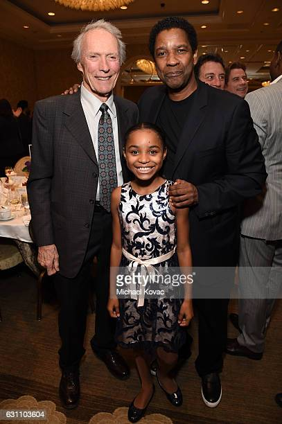 Actor/director Clint Eastwood actress Saniyya Sidney and actor/director Denzel Washington attend the 17th annual AFI Awards at Four Seasons Los...
