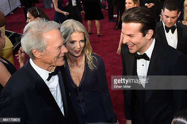 Actor/director Clint Eastwood, Christina Sandera and actor Bradley Cooper attend the 87th Annual Academy Awards at Hollywood & Highland Center on...