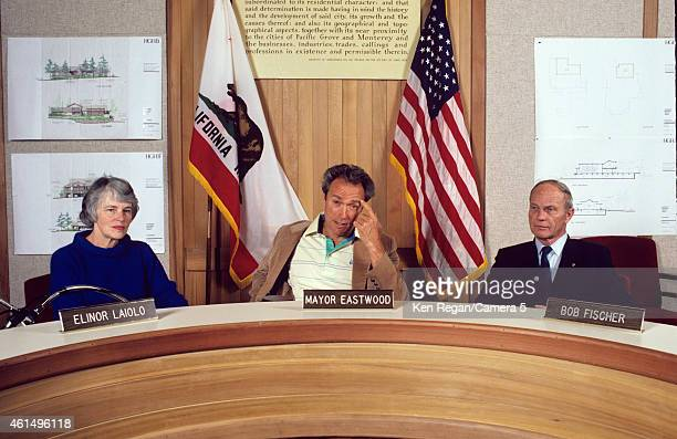 Actor/director Clint Eastwood is photographed with Elinor Laiolo and Bob Fischer in 1982 in Carmel California CREDIT MUST READ Ken Regan/Camera 5 via...