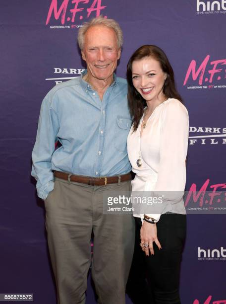Actor/Director Clint Eastwood poses with his daughter/actress Francesca Eastwood at the Premiere Of Dark Sky Films' 'MFA' at The London West...