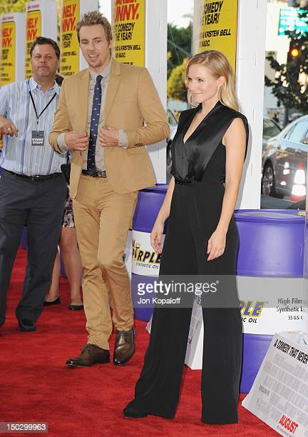 Actor/Director Dax Shepard and actress Kristen Bell arrive at the Los Angeles Premiere Hit Run at Regal Cinemas LA Live on August 14 2012 in Los...