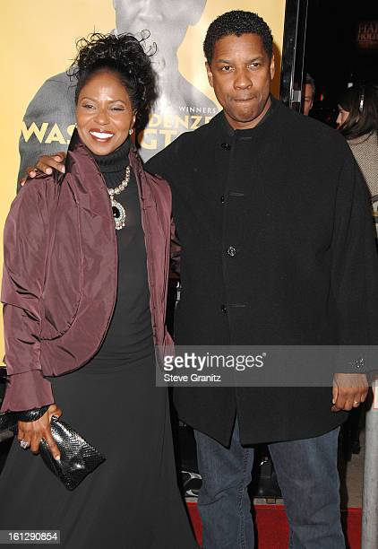 Actordirector Denzel Washington and wife Pauletta arrive at The Weinstein Company premiere of The Great Debaters at ArcLight Cinemas on December 11...