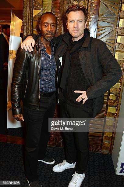 """Actor/Director Don Cheadle and actor Ewan McGregor pose at a photocall for """"Miles Ahead"""" at The Curzon Mayfair on April 5, 2016 in London, England."""