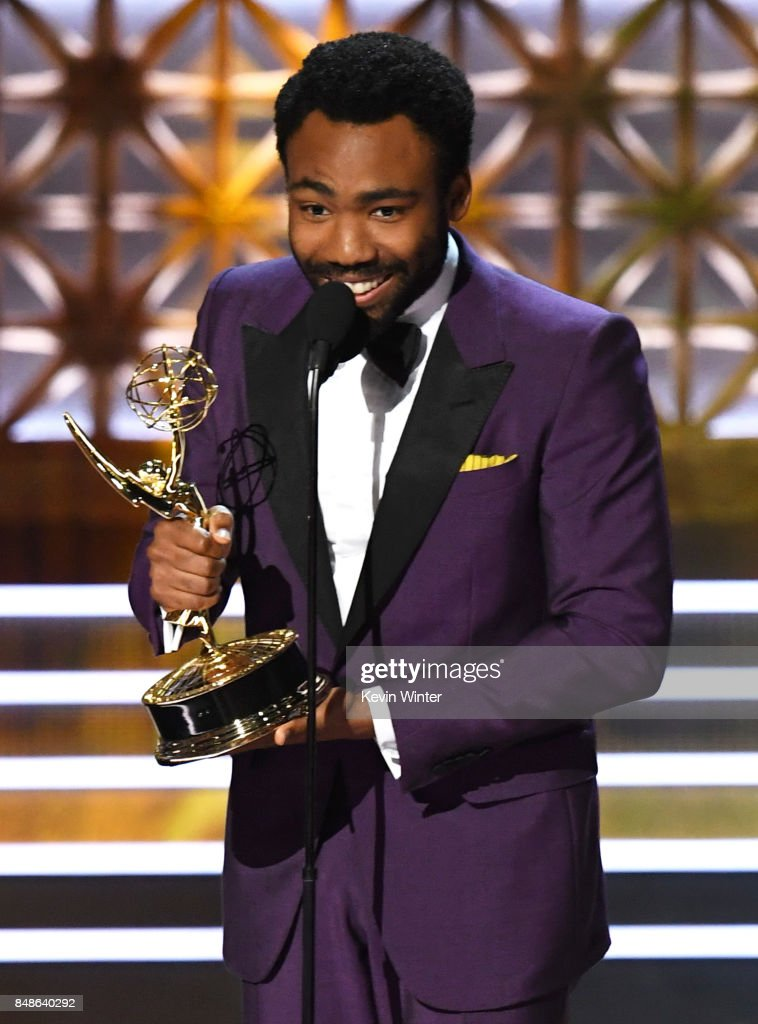 Actor/director Donald Glover accepts Outstanding Directing for a Comedy Series for 'Atlanta' (episode 'B.A.N.') onstage during the 69th Annual Primetime Emmy Awards at Microsoft Theater on September 17, 2017 in Los Angeles, California.