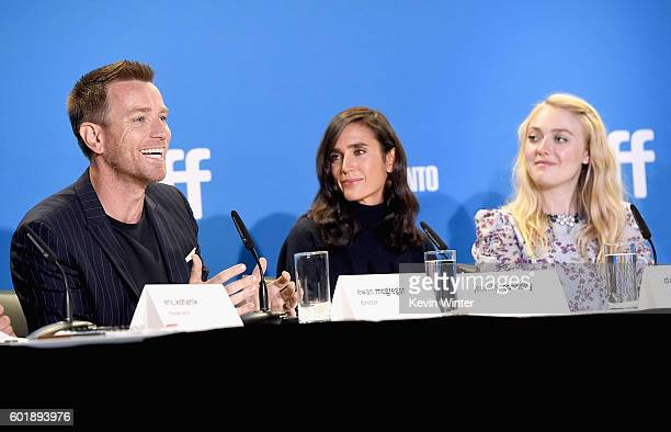 Actor/director Ewan McGregor actors Jennifer Connelly and Dakota Fanning speak onstage at the 'American Pastoral' press conference during the 2016...