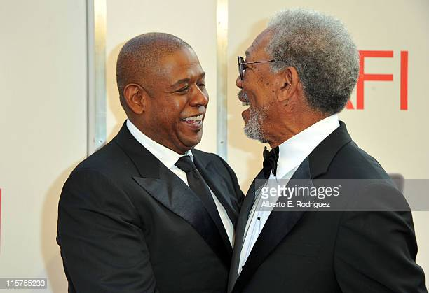 Actor/Director Forest Whitaker and 39th Life Achievement Award recipient Morgan Freeman arrive at the 39th AFI Life Achievement Award Honoring Morgan...