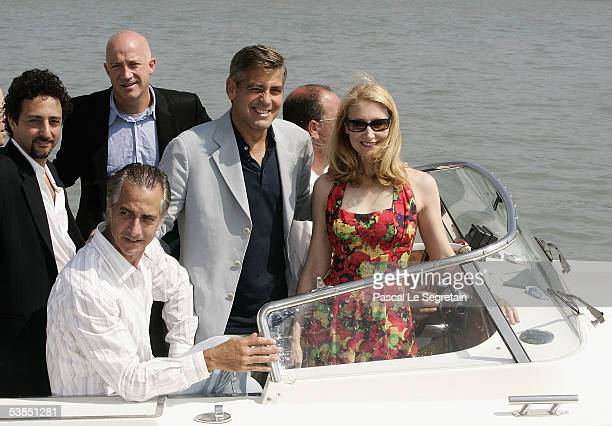 Actor/Director George Clooney arrives by watertaxi with fellow actors Grant Heslov David Strathairn and Patricia Clarkson for the press conference...