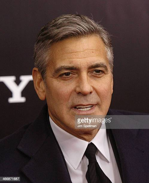 """Actor/director George Clooney attends """"The Monuments Men"""" premiere at Ziegfeld Theater on February 4, 2014 in New York City."""