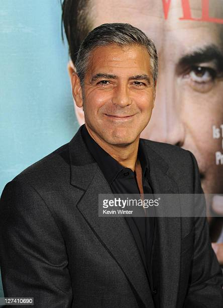 Actor/Director George Clooney attends the Premiere of Columbia Pictures' The Ides Of March held at the Academy of Motion Picture Arts and Sciences'...