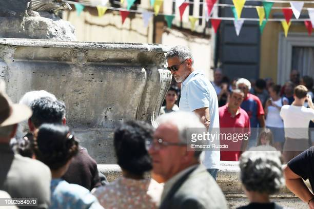 Actor/director George Clooney is seen on set filming 'Catch 22' on July 20 2018 in Sutri Viterbo Italy