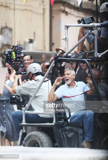 Actor/director George Clooney is seen on the filming of 'Catch 22' on July 20 2018 in Sutri Viterbo Italy