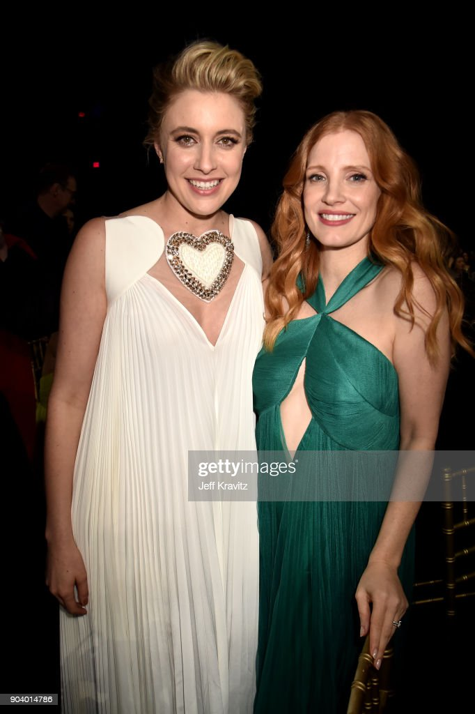 Actor/director Greta Gerwig (L) and actor Jessica Chastain attend The 23rd Annual Critics' Choice Awards at Barker Hangar on January 11, 2018 in Santa Monica, California.