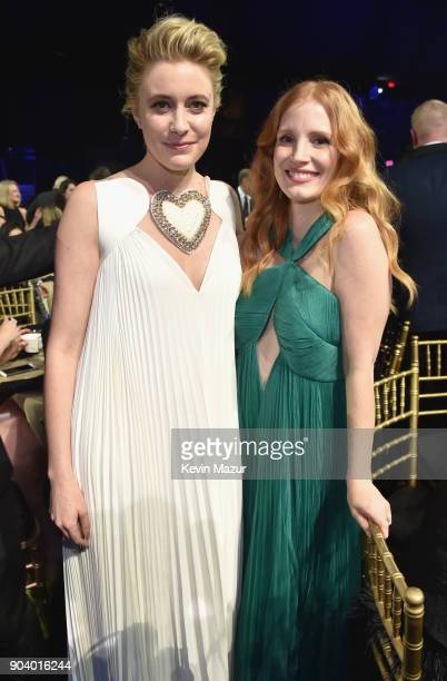 Actor/director Greta Gerwig and actor Jessica Chastain attend The 23rd Annual Critics' Choice Awards at Barker Hangar on January 11 2018 in Santa...