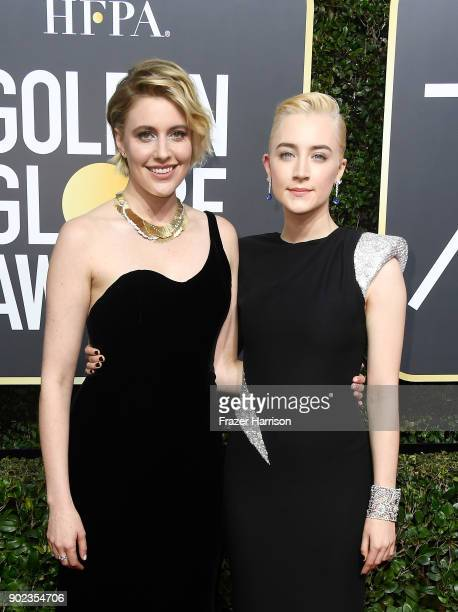 Actor/director Greta Gerwig and actor Saoirse Ronan attend The 75th Annual Golden Globe Awards at The Beverly Hilton Hotel on January 7, 2018 in...