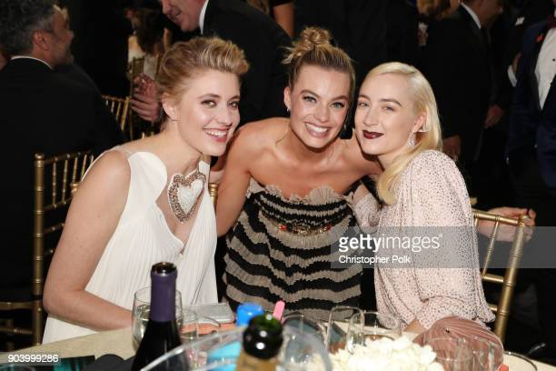 Actor/director Greta Gerwig and actors Margot Robbie and Saoirse Ronan attend The 23rd Annual Critics' Choice Awards at Barker Hangar on January 11...