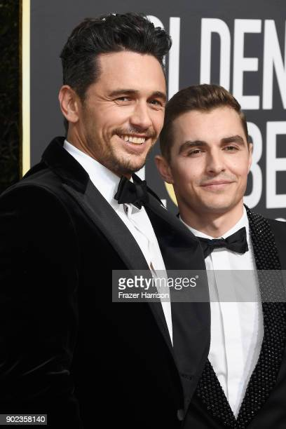 Actor/director James Franco and actor Dave Franco attend The 75th Annual Golden Globe Awards at The Beverly Hilton Hotel on January 7 2018 in Beverly...