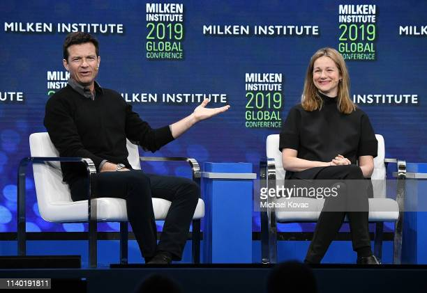 Actor/director Jason Bateman and actor Laura Linney participate in a panel discussion during the annual Milken Institute Global Conference at The...
