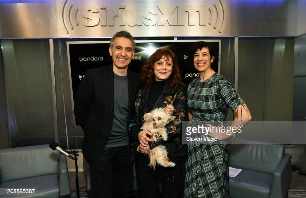 Actor/director John Turturro actress Susan Sarandon and host Jessica Shaw pose for photos at EW channel at SiriusXM Studios to discuss crime comedy...