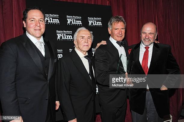 Actor/Director Jon Favreau actor Kirk Douglas actor Harrison Ford and director Andrew Davis attend SBIFF's 5th Annual Kirk Douglas Award For...