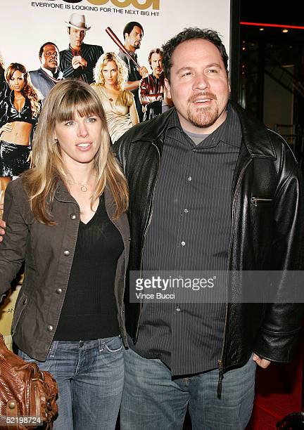Actor/director Jon Favreau and wife Joya Tillem walks on the red carpet during MGM's premiere of Be Cool at Grauman's Chinese Theatre on February 14...