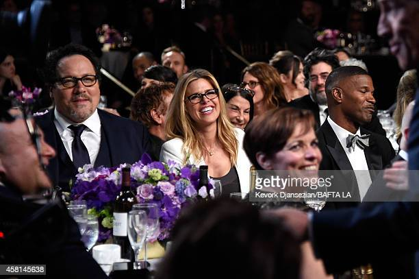 Actor/director Jon Favreau Joya Tillem Louise Daly and actor Jamie Foxx attend the BAFTA Los Angeles Jaguar Britannia Awards presented by BBC America...
