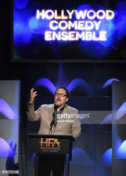 Actor/director Jon Favreau speaks onstage during the 21st Annual Hollywood Film Awards at The Beverly Hilton Hotel on November 5 2017 in Beverly...