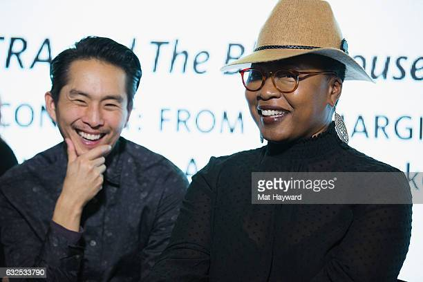 Actor/Director Justin Chon and Producer Taj Paxton speak during the Creating Content From the Margins to the Mainstream panel presented by SAGAFTRA...