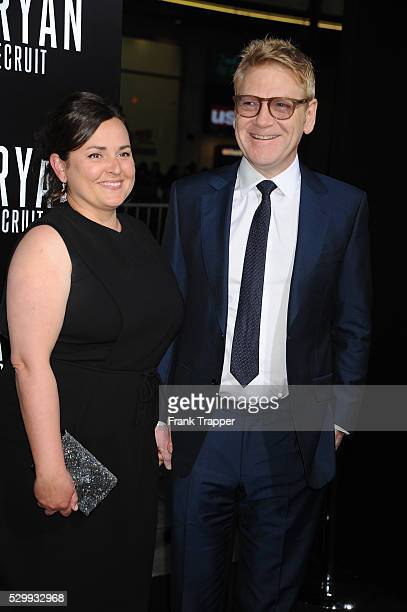 Actor/director Kenneth Branagh and guest Lindsay Brunnock arrive at the premiere of Jack Ryan Shadow Recruit held at TCL Chinese Theater in Hollywood