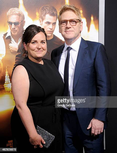 """Actor/director Kenneth Branagh and Lindsay Brunnock arrive at the Los Angeles premiere of """"Jack Ryan: Shadow Recruit"""" at TCL Chinese Theatre on..."""