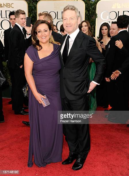 Actor/Director Kenneth Branagh and wife Lindsay Brunnock arrive at the 69th Annual Golden Globe Awards held at the Beverly Hilton Hotel on January 15...