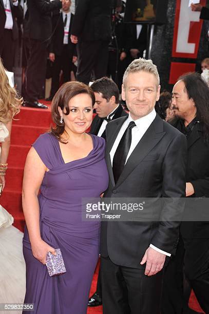 Actor/Director Kenneth Branagh and wife Lindsay Brunnock arrive at the 69th Annual Golden Globe Awards held at the Beverly Hilton Hotel.