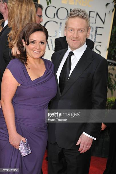 Actor/Director Kenneth Branagh and wife Lindsay Brunnock arrive at the 69th Annual Golden Globe Awards held at the Beverly Hilton Hotel