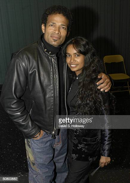 Actor/Director Mario Van Peebles and wife Chitra Van Peebles pose during the Tribeca Film Festival Sony Filmmakers Seminar on May 4 2004 in New York...