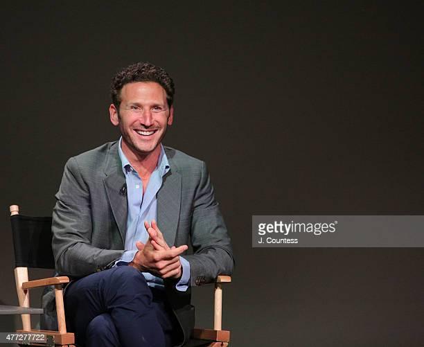 Actor/director Mark Feuerstein speaks during the Apple Store SohoMeet the Filmmaker Mark Feuerstein 'Larry Gaye Renegade Male Flight Attendant' event...