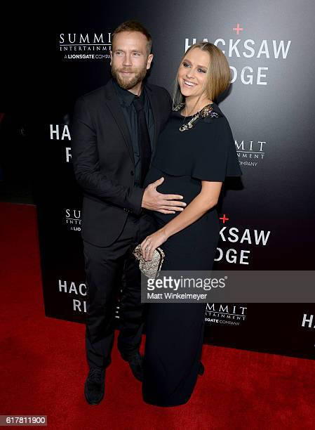 Actor/director Mark Webber and actress Teresa Palmer attend the screening of Summit Entertainment's Hacksaw Ridge at Samuel Goldwyn Theater on...