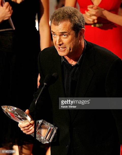 Actor/Director Mel Gibson accepts the award for Favorite Movie Drama for The Passion of the Christ on stage during the 31st Annual People's Choice...