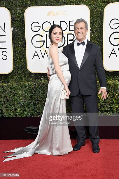 Actor/director Mel Gibson and screenwriter Rosalind Ross attend the 74th Annual Golden Globe Awards at The Beverly Hilton Hotel on January 8 2017 in...
