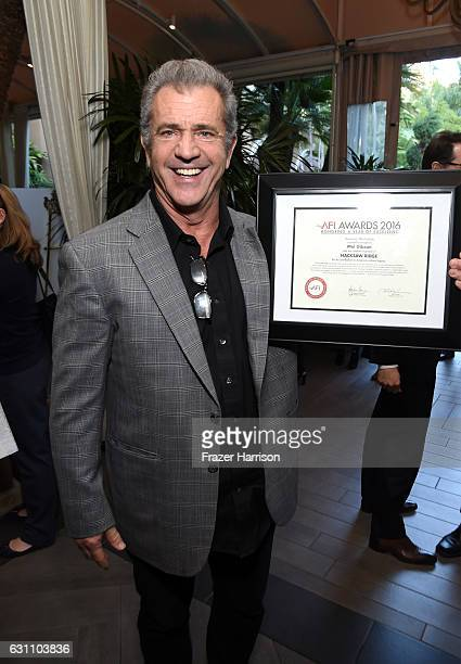 Actor/director Mel Gibson poses with award during the 17th annual AFI Awards at Four Seasons Los Angeles at Beverly Hills on January 6 2017 in Los...