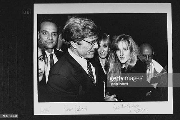 Actor/director Robert Redford w daughter Shauna date Kathy O'Rear at benefit for the Natural Resources Defense Council following the premiere of the...