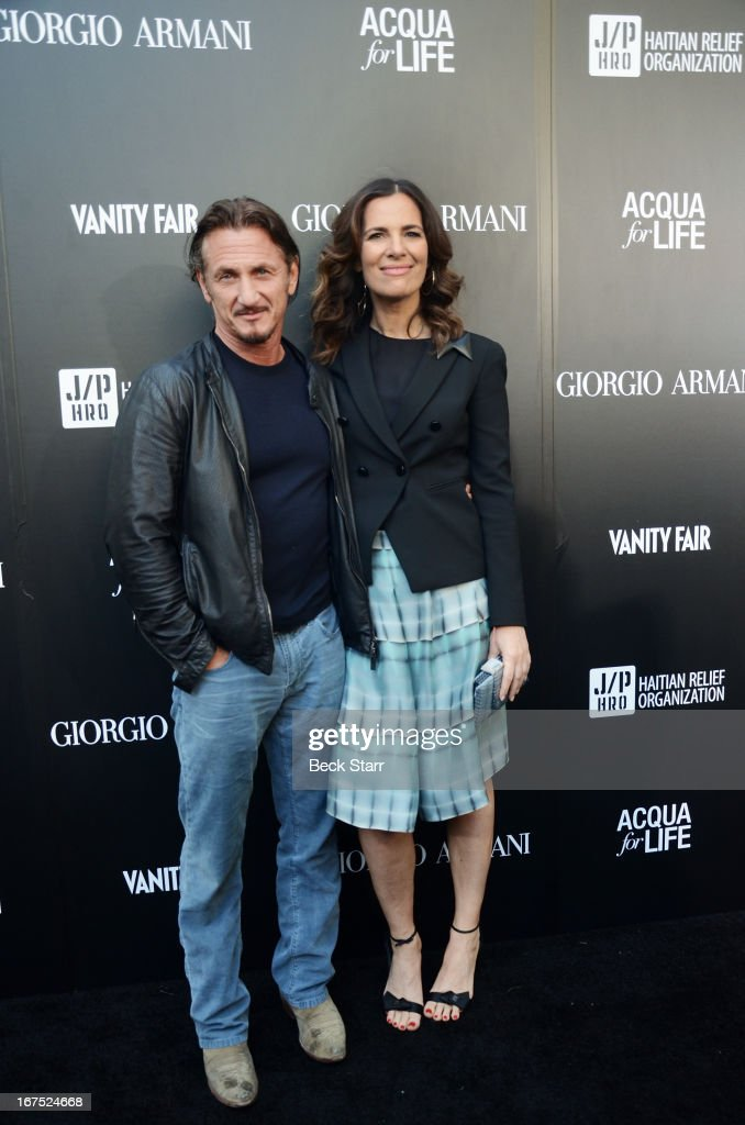 Actor/director Sean Penn and his guest arrive at the Giorgio Armani party to celebrate Paris Photo Los Angeles Vernissage opening night at Paramount Studios on April 25, 2013 in Hollywood, California.