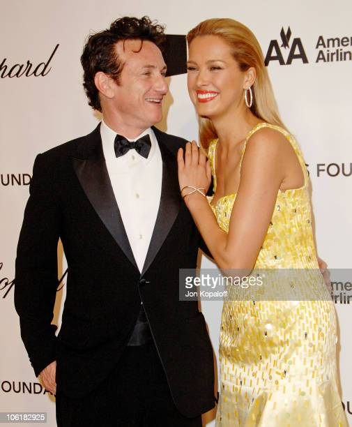 Actor/director Sean Penn and model Petra Nemcova attend the 16th Annual Elton John AIDS Foundation Oscar Party at the Pacific Design Center on...