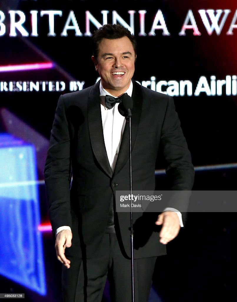 Actor-director Seth MacFarlane speaks onstage during the 2015 Jaguar Land Rover British Academy Britannia Awards presented by American Airlines at The Beverly Hilton Hotel on October 30, 2015 in Beverly Hills, California.