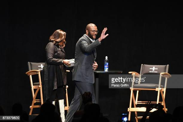 Actor/director Tyler Perry arrives onstage at 'Higher Is Waiting' A Conversation With Tyler Perry at Fox Theater on November 12 2017 in Atlanta...