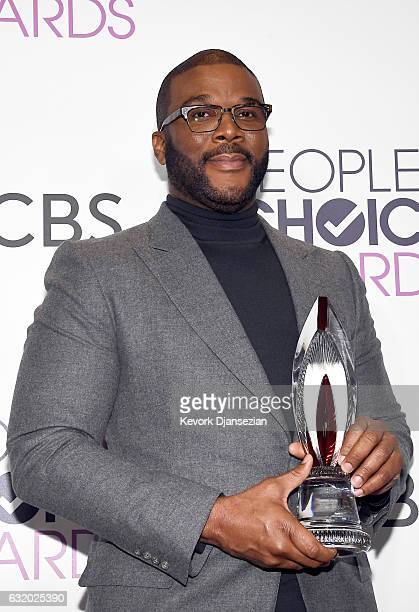 Actor/director Tyler Perry winner of the Favorite Humanitarian Award poses in the press room during the People's Choice Awards 2017 at Microsoft...